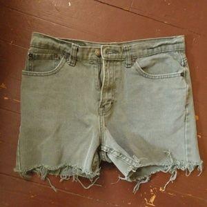 Army Green Frayed Cut Off Shorts
